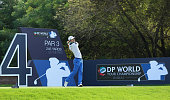 Alejandro Canizares of Spain in action during the second round of the DP World Tour Championship on the Earth Course at Jumeirah Golf Estates on...