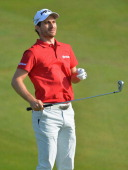 Alejandro Canizares of Spain jumps during the second round of the Trophee Hassan II Golf at Golf du Palais Royal on March 14 2014 in Agadir Morocco