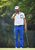 Alejandro Canizares of Spain lines up a putt during the first round of Hero Indian Open at Delhi Golf Club on March 17 2016 in New Delhi India