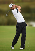 Alejandro Canizares of Spain plays a shot during the first round of the Portugal Masters at Oceanico Victoria Golf Club on October 9 2014 in...