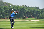 Alejandro Canizares of Spain plays a shot during the proam prior to the start of the Shenzhen International at Genzon Golf Club on April 15 2015 in...