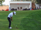 Alejandro Canizares of Spain plays his approach shot on the 18th hole during the final round of the Trophee Hassan II Golf at Golf du Palais Royal on...