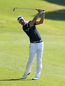 Alejandro Canizares of Spain plays his approach shot to the 10th green during the second round of the Turkish Airlines Open at The Montgomerie Maxx...