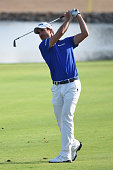 Alejandro Canizares of Spain plays his second shot on the 17th hole during round four of the Abu Dhabi HSBC Golf Championship at the Abu Dhabi Golf...