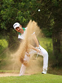 Alejandro Canizares of Spain plays out of a bunker on the 1st hole during the third round of the Trophee Hassan II at Royal Golf Dar Es Salam on May...