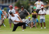 Alejandro Canizares of Spain plays out of the ninth greenside bunker during the second round of The Nelson Mandela Championship presented by ISPS...