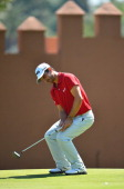 Alejandro Canizares of Spain reacts to a putt during the second round of the Trophee Hassan II Golf at Golf du Palais Royal on March 14 2014 in...