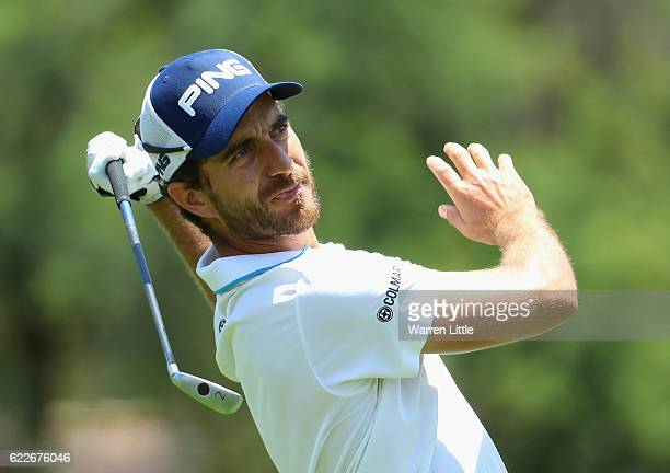 Alejandro Canizares of Spain reacts to his second shot on the 10th hole during the third round of the Nedbank Golf Challenge at the Gary Player CC on...