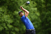 Alejandro Canizares of Spain tees off on the 3rd hole during day 4 of the BMW PGA Championship at Wentworth on May 24 2015 in Virginia Water England