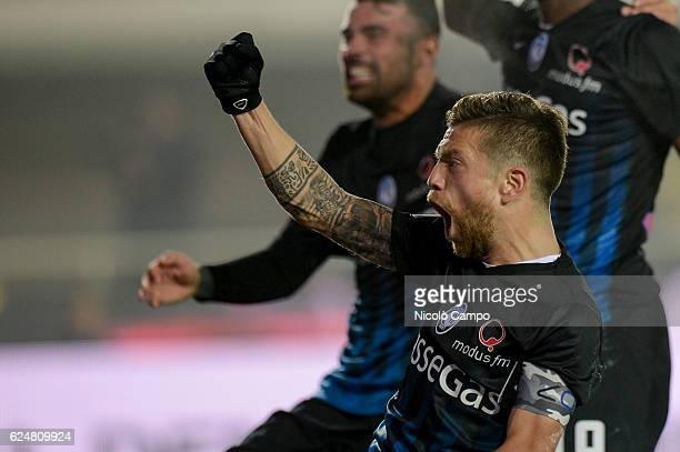 Alejandro Dario Gomez of Atalanta BC celebrates after a goal score by Franck Kessie during the Serie A football match between Atalanta BC and AS Roma