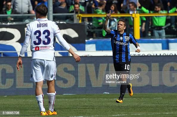 Alejandro Dario Gomez of Atalanta BC celebrates after scoring the opening goal during the Serie A match between Atalanta BC and Bologna FC at Stadio...