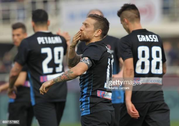 Alejandro Dario Gomez of Atalanta BC celebrates after scoring the opening goal during the Serie A match between Atalanta BC and Pescara Calcio at...