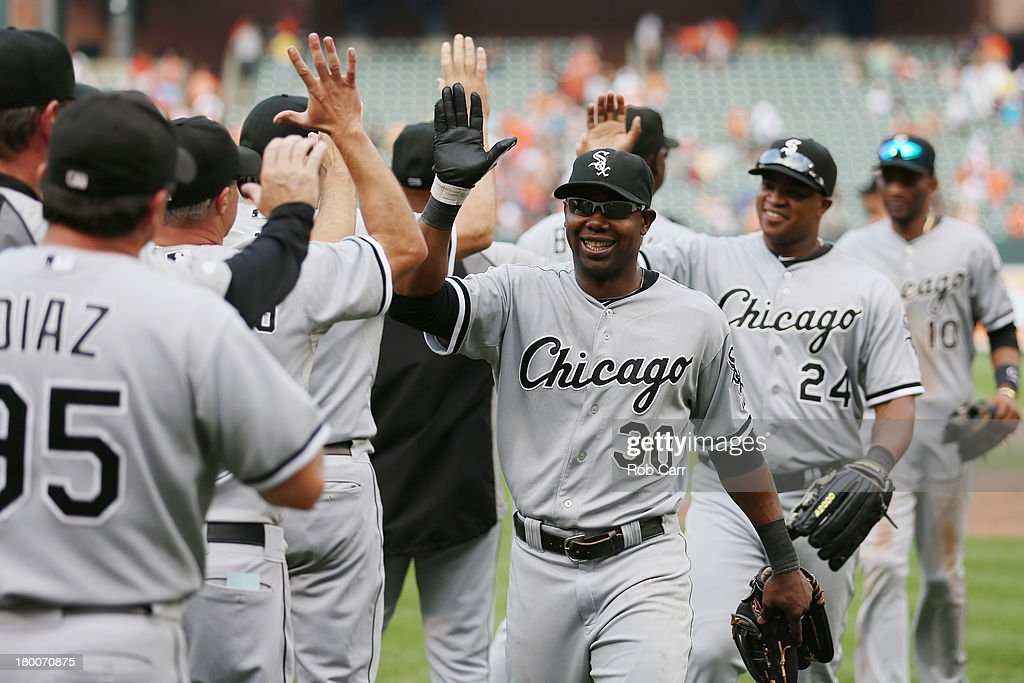<a gi-track='captionPersonalityLinkClicked' href=/galleries/search?phrase=Alejandro+De+Aza&family=editorial&specificpeople=4181650 ng-click='$event.stopPropagation()'>Alejandro De Aza</a> of the Chicago White Sox celebrates after the White Sox defeated the Baltimore Orioles 4-2 at Oriole Park at Camden Yards on September 8, 2013 in Baltimore, Maryland.