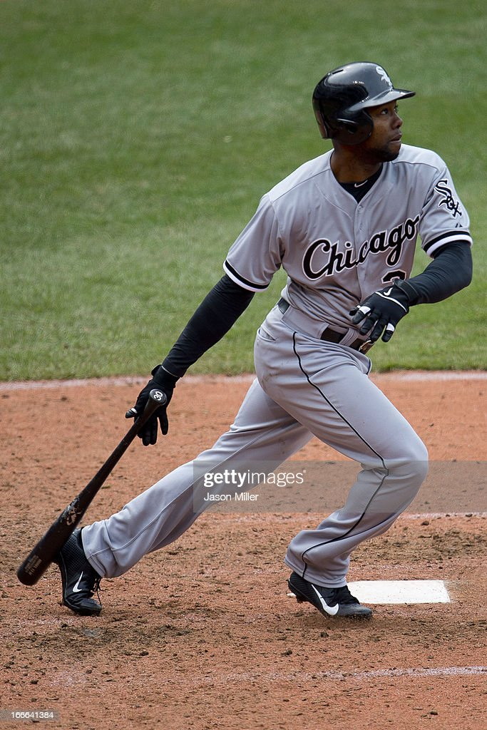 <a gi-track='captionPersonalityLinkClicked' href=/galleries/search?phrase=Alejandro+De+Aza&family=editorial&specificpeople=4181650 ng-click='$event.stopPropagation()'>Alejandro De Aza</a> #30 of the Chicago White Sox hits a solo home run during the eighth inning against the Cleveland Indians at Progressive Field on April 14, 2013 in Cleveland, Ohio. The White Sox defeated the Indians 3-1.