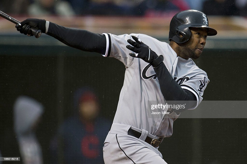 <a gi-track='captionPersonalityLinkClicked' href=/galleries/search?phrase=Alejandro+De+Aza&family=editorial&specificpeople=4181650 ng-click='$event.stopPropagation()'>Alejandro De Aza</a> #30 of the Chicago White Sox hits a two run home run during the seventh inning against the Cleveland Indians at Progressive Field on April 13, 2013 in Cleveland, Ohio.