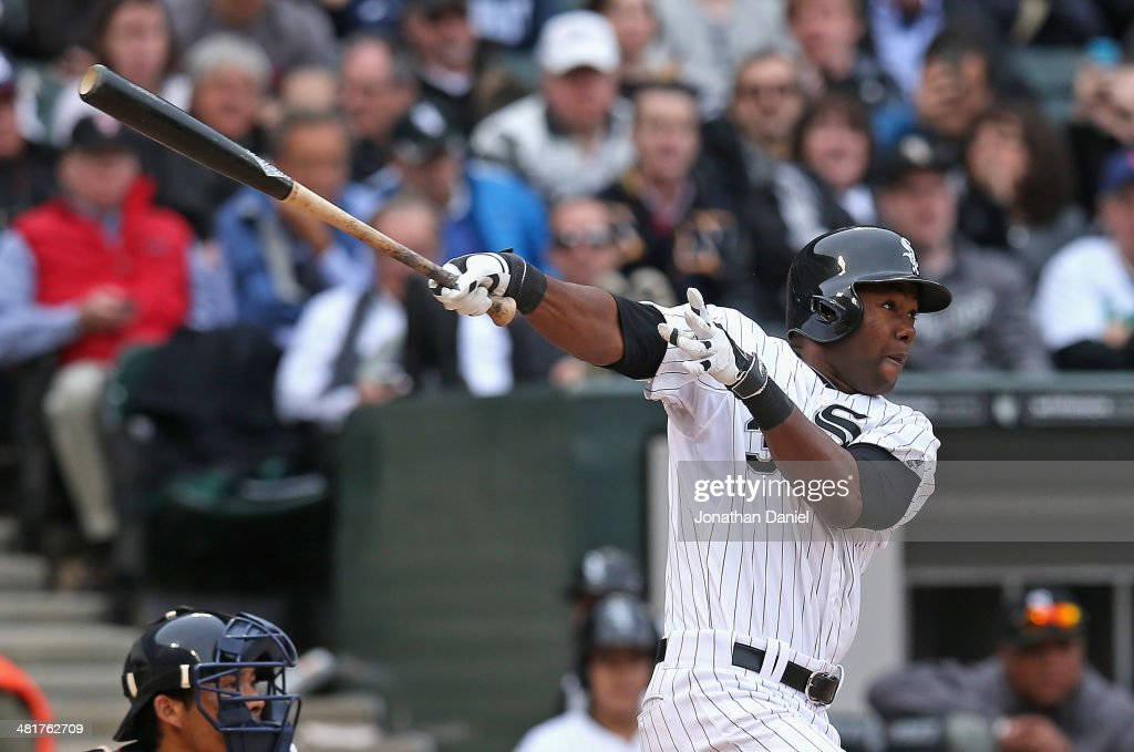 Alejandro De Aza of the Chicago White Sox hits his second home run of the game a solo shot in the 7th inning against the Minnesota Twins during the...