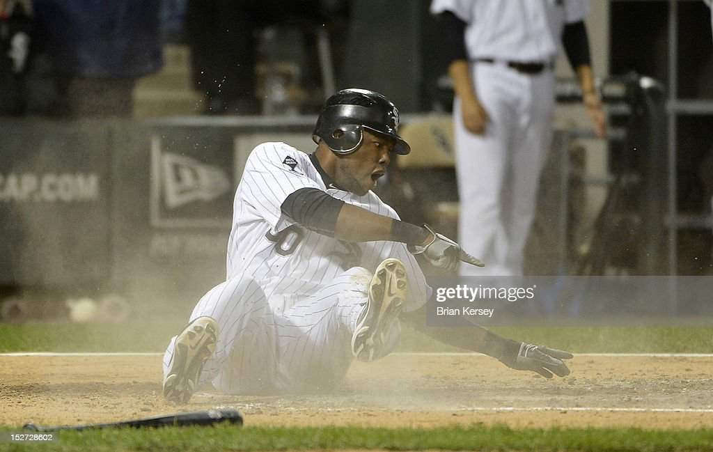 <a gi-track='captionPersonalityLinkClicked' href=/galleries/search?phrase=Alejandro+De+Aza&family=editorial&specificpeople=4181650 ng-click='$event.stopPropagation()'>Alejandro De Aza</a> #30 of the Chicago White Sox reacts after he was called out at home plate while trying to score on a double hit by Kevin Youkilis #20 during the fourth inning against the Cleveland Indians at U.S. Cellular Field on September 24, 2012 in Chicago, Illinois.