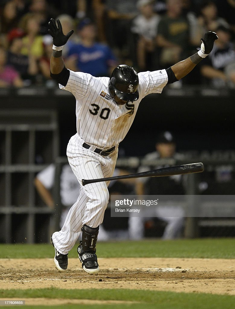 <a gi-track='captionPersonalityLinkClicked' href=/galleries/search?phrase=Alejandro+De+Aza&family=editorial&specificpeople=4181650 ng-click='$event.stopPropagation()'>Alejandro De Aza</a> #30 of the Chicago White Sox reacts after popping out to end the seventh inning of the 2013 Civil Rights Game against the Texas Rangers at U.S. Cellular Field on August 24, 2013 in Chicago, Illinois.