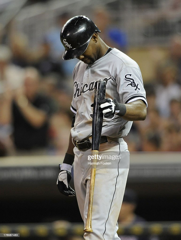 <a gi-track='captionPersonalityLinkClicked' href=/galleries/search?phrase=Alejandro+De+Aza&family=editorial&specificpeople=4181650 ng-click='$event.stopPropagation()'>Alejandro De Aza</a> #30 of the Chicago White Sox reacts to striking out against the Minnesota Twins during the ninth inning of the game on August 15, 2013 at Target Field in Minneapolis, Minnesota. The Twins defeated the White Sox 4-3.