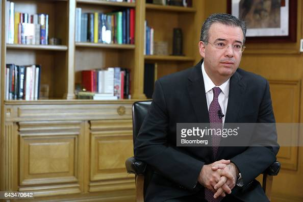Alejandro Diaz de Leon deputy governor of Banco de Mexico listens during an interview at the bank's headquarters in Mexico City Mexico on Monday Feb...