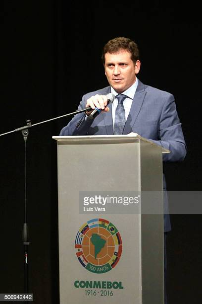Alejandro Dominguez newly elected president of CONMEBOL speaks during CONMEBOL Presidential Elections at CONMEBOL headquarters on January 26 2016 in...