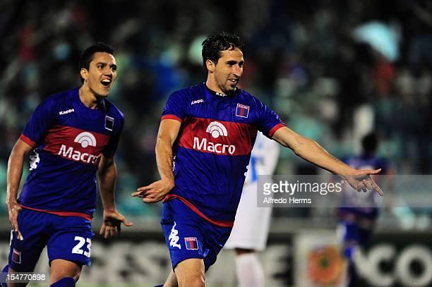 Alejandro Donatti of Tigre celebrates a scored goal against Deportivo Quito during a match between Tigre from Argentina and Deportivo Quito from...