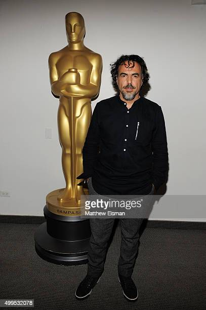 Alejandro G Inarritu attends The Academy Of Motion Picture Arts And Sciences official Academy screening of 'The Revenant' at NYIT Theatres on...