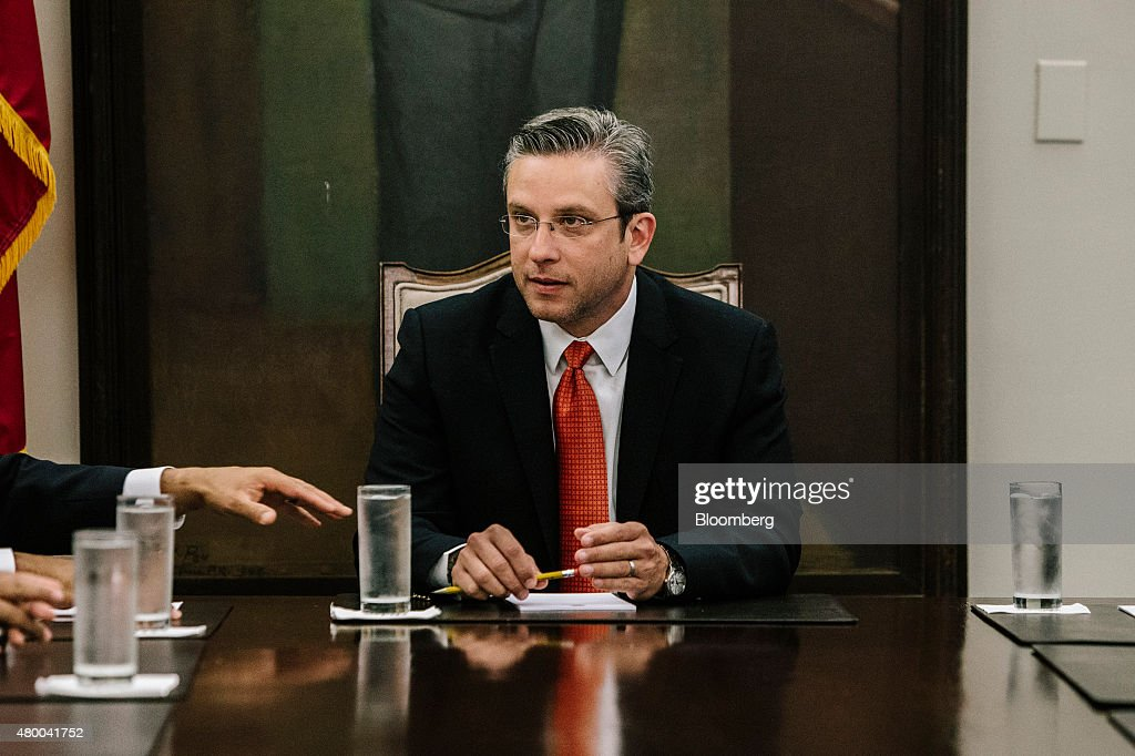 Alejandro Garcia Padilla governor of Puerto Rico speaks during a meeting at the Governor's Mansion known as La Fortaleza in San Juan Puerto Rico on...