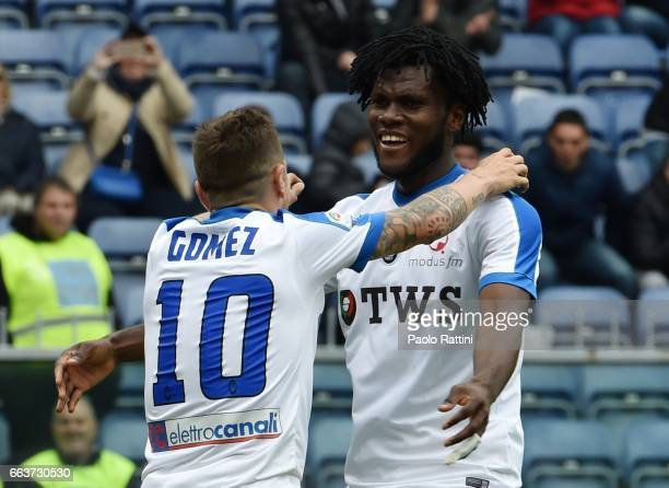Alejandro Gomez and Franck Kessie of Atalanta celebrates after scoring 03 during the Serie A match between Genoa CFC and Atalanta BC at Stadio Luigi...