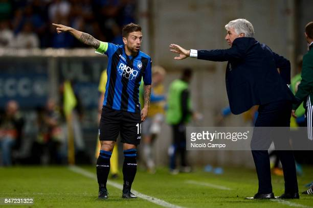 Alejandro Gomez and Gian Piero Gasperini of Atalanta BC gesture during the UEFA Europa League group E football match between Atalanta BC and Everton...
