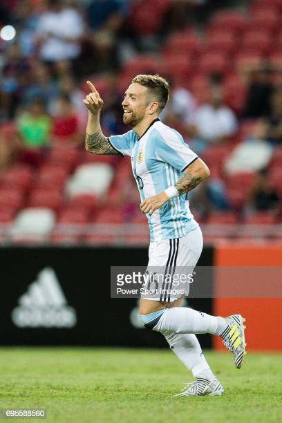 Alejandro Gomez of Argentina celebrating his goal during the International Test match between Argentina and Singapore at National Stadium on June 13...