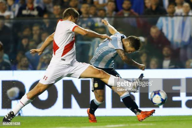 Alejandro Gomez of Argentina takes a shot during a match between Argentina and Peru as part of FIFA 2018 World Cup Qualifiers at Estadio Alberto J...