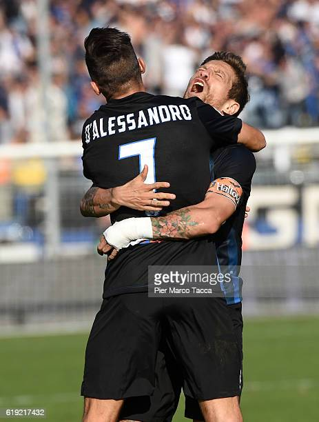 Alejandro Gomez of Atalanta BC celebrates his first goal with Marco D'Alessandro of Atalanta BC during the Serie A match between Atalanta BC and...