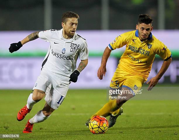 Alejandro Gomez of Atalanta BC competes for the ball with Mirko Gori of Frosinone Calcio during the Serie A match between Frosinone Calcio and...