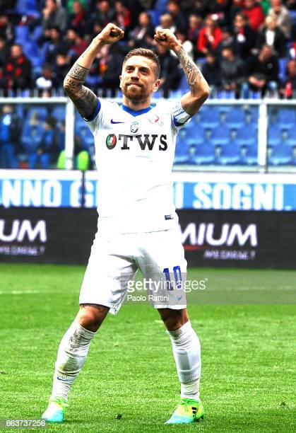 Alejandro Gomez of Atalanta celebrates after scoring 03 during the Serie A match between Genoa CFC and Atalanta BC at Stadio Luigi Ferraris on April...