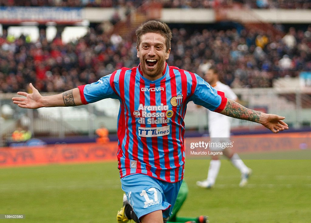 Alejandro Gomez of Catania celebrates after scoring his team's opening goal during the Serie A match between Calcio Catania and AS Roma at Stadio Angelo Massimino on January 13, 2013 in Catania, Italy.