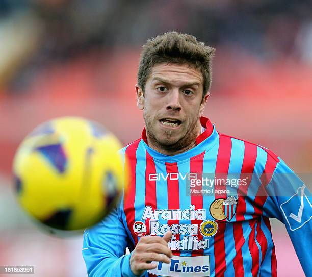 Alejandro Gomez of Catania in action during the Serie A match between Calcio Catania and Bologna FC at Stadio Angelo Massimino on February 17 2013 in...