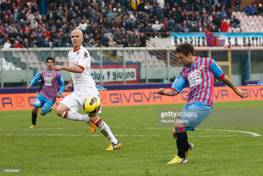 Alejandro Gomez of Catania scores his team's opening goal during the Serie A match between Calcio Catania and AS Roma at Stadio Angelo Massimino on...