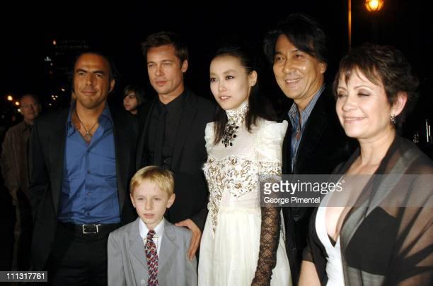 Alejandro Gonzalez Inarritu director Brad Pitt Nathan Gamble Rinko Kikuchi Koji Yakusho and Adriana Barraza