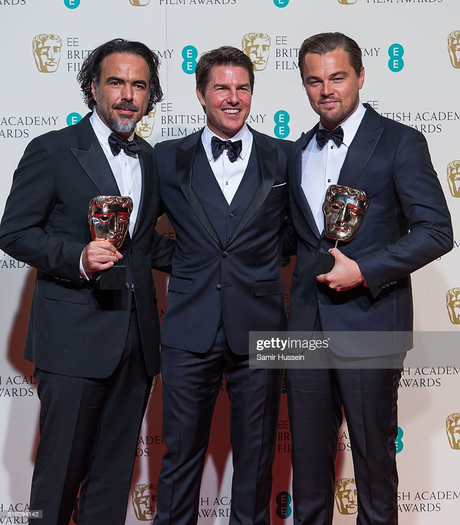 Alejandro Gonzalez Inarritu, Tom Cruise and Leonardo DiCaprio pose in the winners room at the EE British Academy Film Awards at The Royal Opera House on February 14, 2016 in London, England.