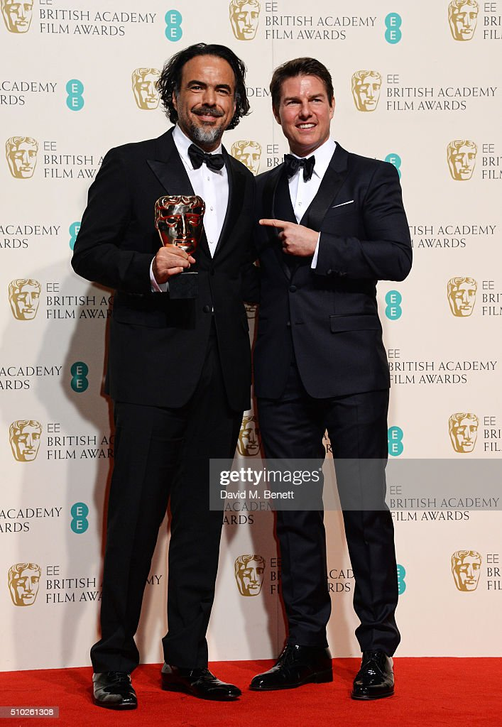 <a gi-track='captionPersonalityLinkClicked' href=/galleries/search?phrase=Alejandro+Gonzalez+Inarritu&family=editorial&specificpeople=3973546 ng-click='$event.stopPropagation()'>Alejandro Gonzalez Inarritu</a>, winner of the Best Director award for 'The Revenant' (L) and <a gi-track='captionPersonalityLinkClicked' href=/galleries/search?phrase=Tom+Cruise&family=editorial&specificpeople=156405 ng-click='$event.stopPropagation()'>Tom Cruise</a> pose in the winners room at the EE British Academy Film Awards at The Royal Opera House on February 14, 2016 in London, England.
