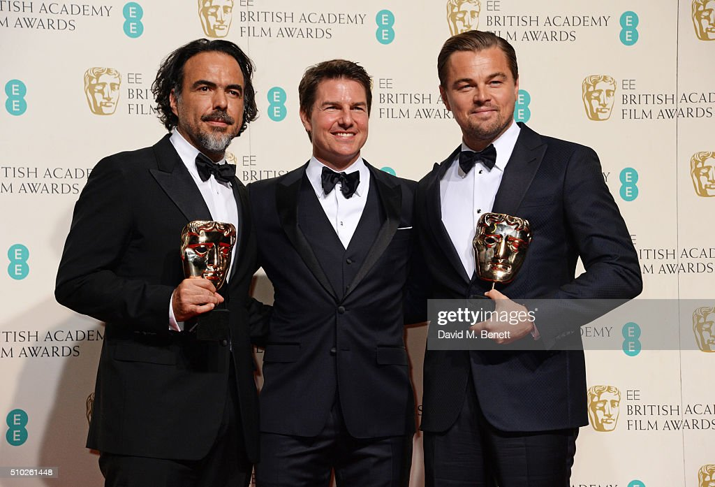 Alejandro Gonzalez Inarritu, winner of the Best Director award for 'The Revenant', <a gi-track='captionPersonalityLinkClicked' href=/galleries/search?phrase=Tom+Cruise&family=editorial&specificpeople=156405 ng-click='$event.stopPropagation()'>Tom Cruise</a> and <a gi-track='captionPersonalityLinkClicked' href=/galleries/search?phrase=Leonardo+DiCaprio&family=editorial&specificpeople=201635 ng-click='$event.stopPropagation()'>Leonardo DiCaprio</a>, winner of the Best Actor award for 'The Revenant', pose in the winners room at the EE British Academy Film Awards at The Royal Opera House on February 14, 2016 in London, England.