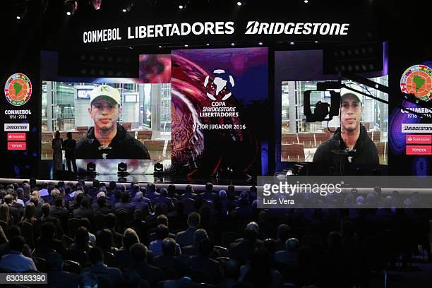 Alejandro Guerra named MVP for the 2016 Copa Libertadores edition gives a message through a video during the during the Copa Libertadores 2017...