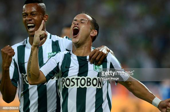 Alejandro Guerra of Atletico Nacional celebrates a scored goal to Deportivo Independiente Medellin during a match between Atletico Nacional and...