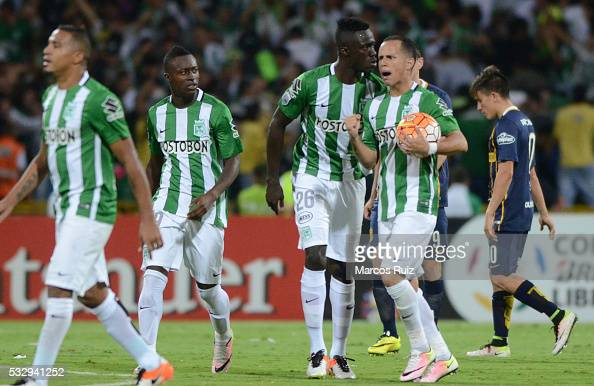Alejandro Guerra of Atletico Nacional celebrates after scoring the second goal of his team during a second leg match between Atletico Nacional and...
