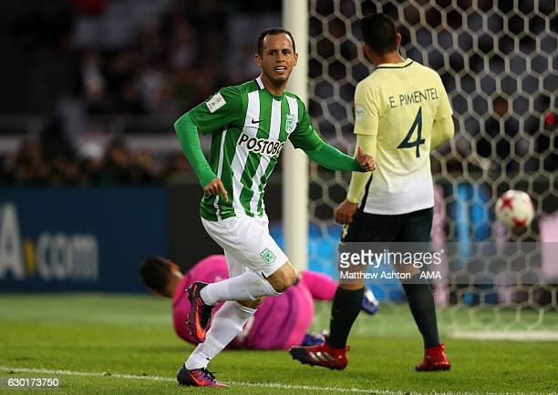 Alejandro Guerra of Atletico Nacional celebrates scoring his team's second goal to make the score 02 during the FIFA Club World Cup 3rd place match...
