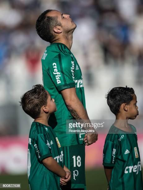 Alejandro Guerra of Palmeiras stands during national anthem prior before the match between Ponte Preta and Palmeiras as a part of Campeonato...