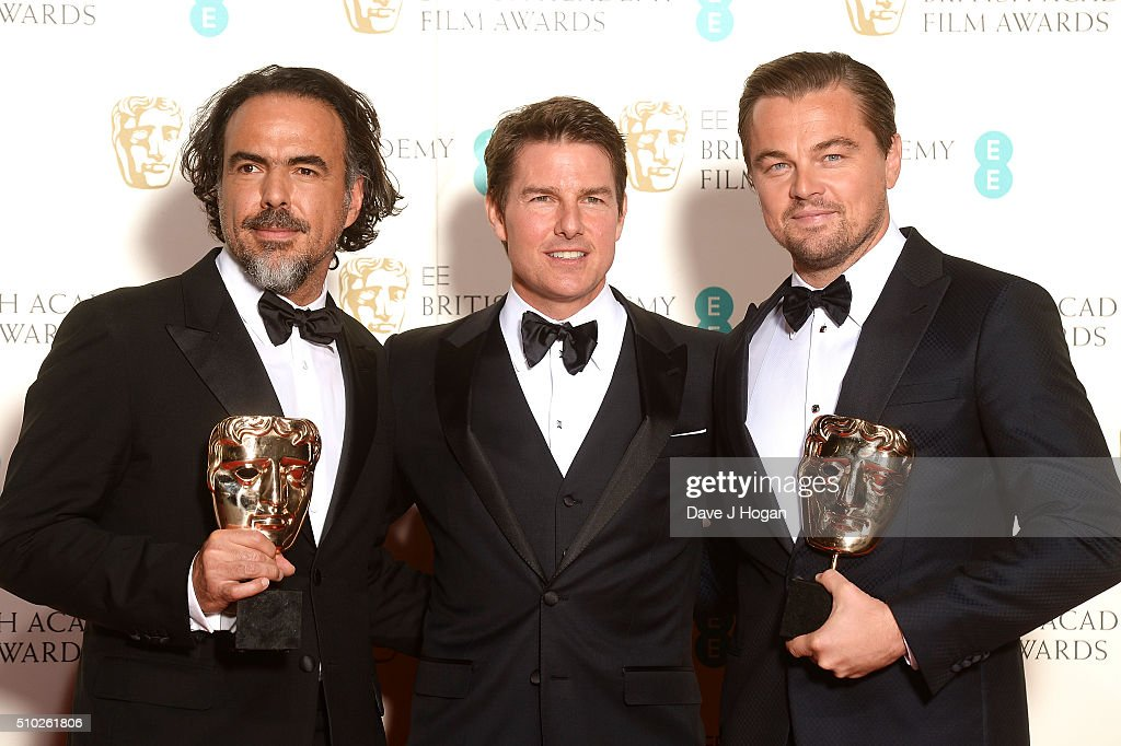 Alejandro Inarritu, Tom Cruise and Leonardo DiCaprio pose in the winners room at the EE British Academy Film Awards at The Royal Opera House on February 14, 2016 in London, England.