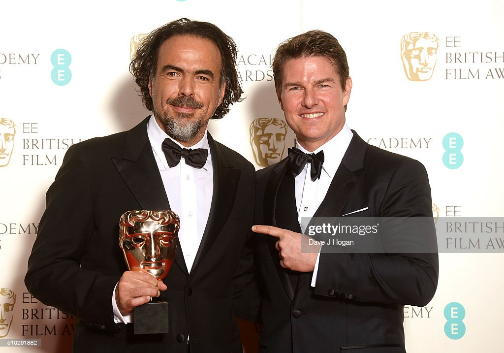 Alejandro Inarritu (L), with the award for Best Film, and <a gi-track='captionPersonalityLinkClicked' href=/galleries/search?phrase=Tom+Cruise&family=editorial&specificpeople=156405 ng-click='$event.stopPropagation()'>Tom Cruise</a> pose in the winners room at the EE British Academy Film Awards at The Royal Opera House on February 14, 2016 in London, England.