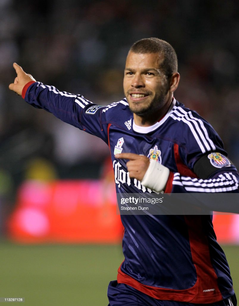 Alejandro Moreno of Chivas USA celebrates after scoring a goal against the New England Revolution at The Home Depot Center on April 30 2011 in Carson...